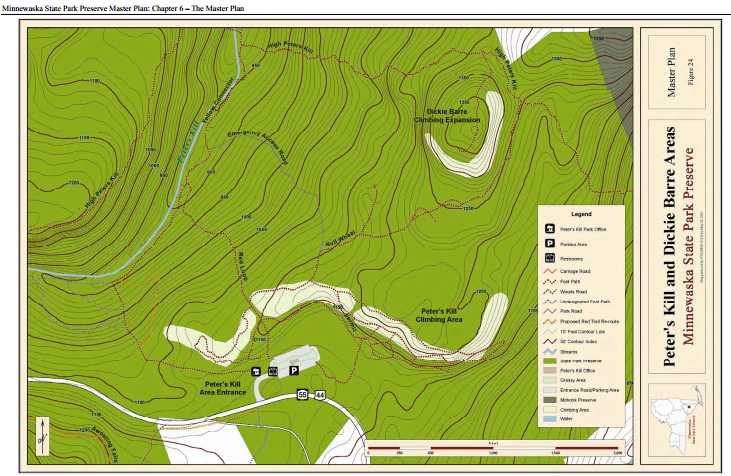 Minnewaska map of Peter's Kill and Dickie Barre climbing areas, from the master plan.