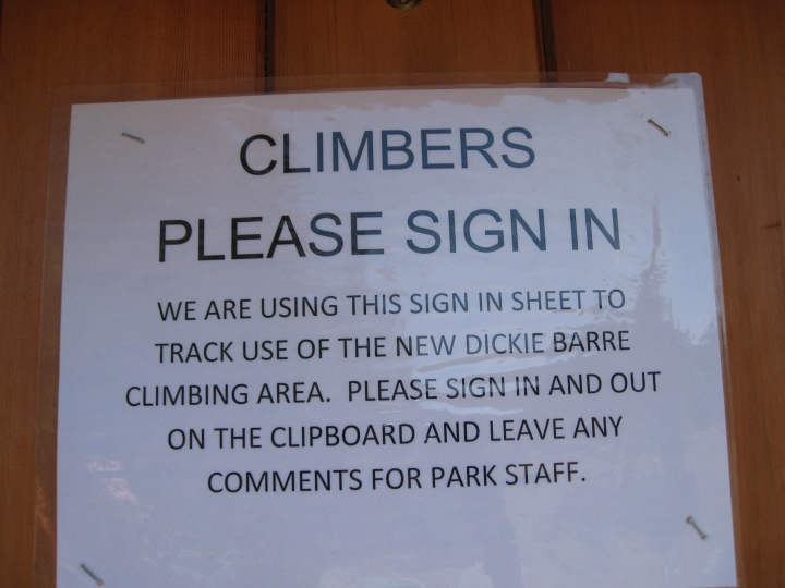 Sign in sheet for newly opened Dickie Barre rock climbing area in Minnewaska State Park, NY