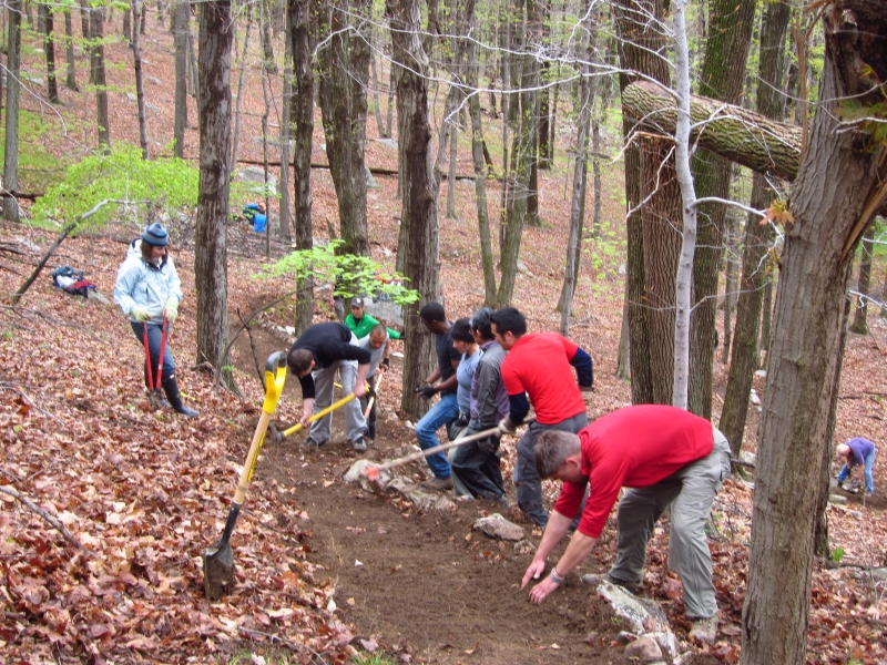 Trail work at Adopt-A-Crag day, 4/22/2012 in Lost City.
