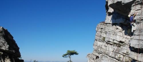 Climbing at Bonticou Crag, Mohonk Preserve, Gunks, NY