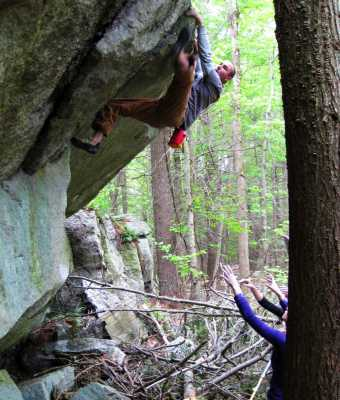 Nyle Baker bouldering at Waterworks, Rosendale, NY. 5/9/2010