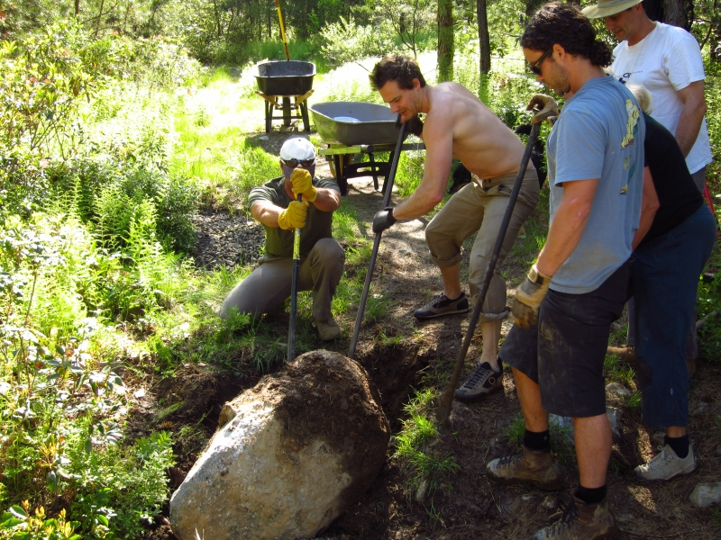 Adopt-A-Crag Day working on the Bullwheel Trail to Dickie Barre at Minnewaska State Park, 5/19/2012