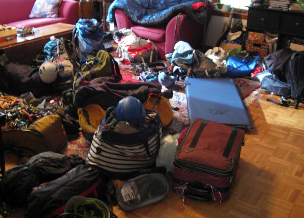 Messy room full of climbing gear. Photo by Jannette Pazer.