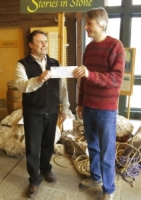 Pete Cody of the GCC giving $7,500 donation to Glenn Hoagland of the Mohonk Preserve for the Waterworks Bouldering Area in Rosendale