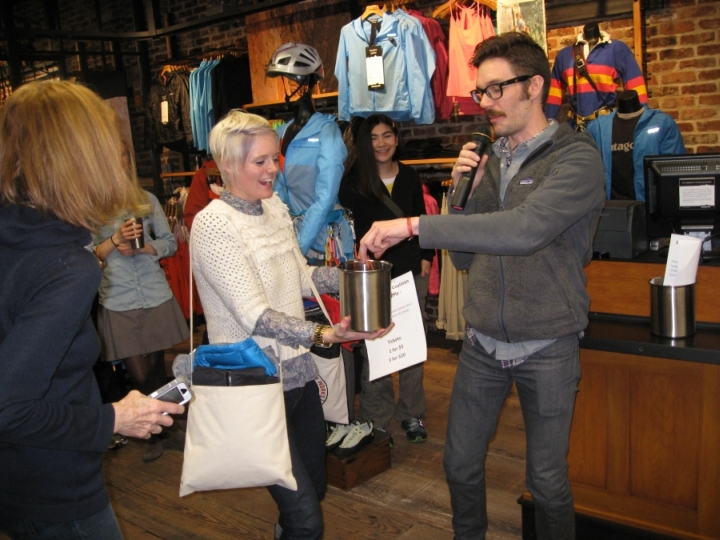 GCC Benefit Raffle at the private party for the grand opening of the Patagonia Meatpacking District NYC store, 2013.
