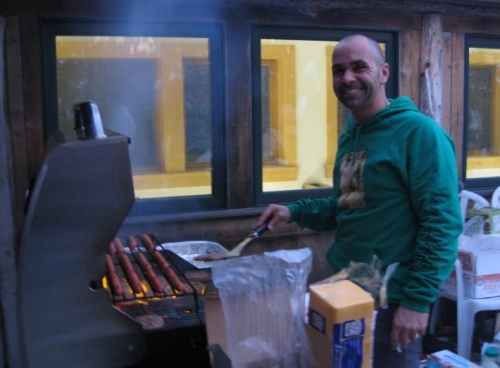 Jason Beaupre manning the BBQ Grill at the Access Fund Education Summit at the Gunks, 11/1/2013