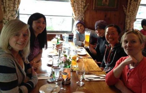 Group of climbers having dinner at the Mountain Brauhaus restaurant in Gardiner, NY.
