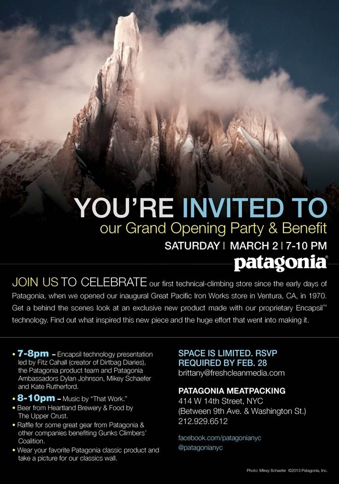 Invitation to the private party for the grand opening of the Patagonia Meatpacking District NYC store, 2013.