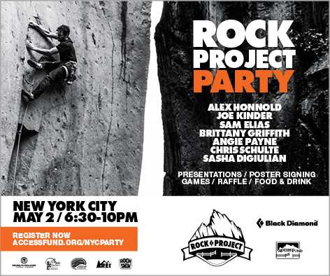 Poster for the ROCK Project Party at Brooklyn Boulders, May 2nd, 2015.