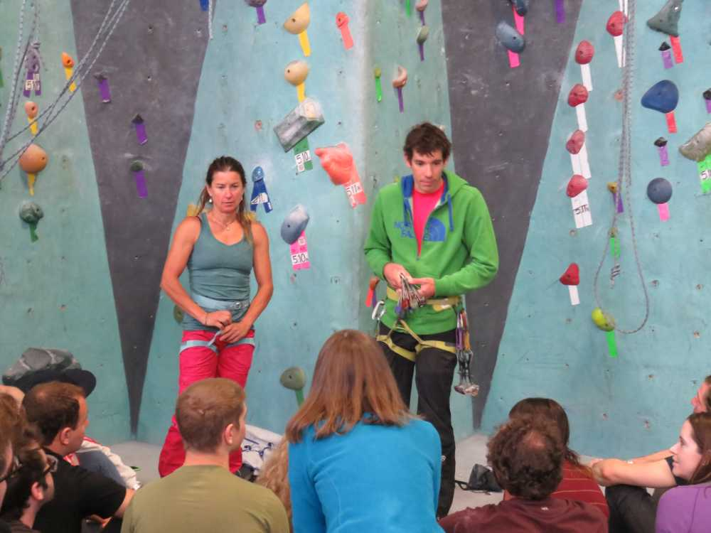 Brittany Griffith and Alex Honnold teaching a trad clinic at Brooklyn Boulders for the ROCK Project Tour 2015.