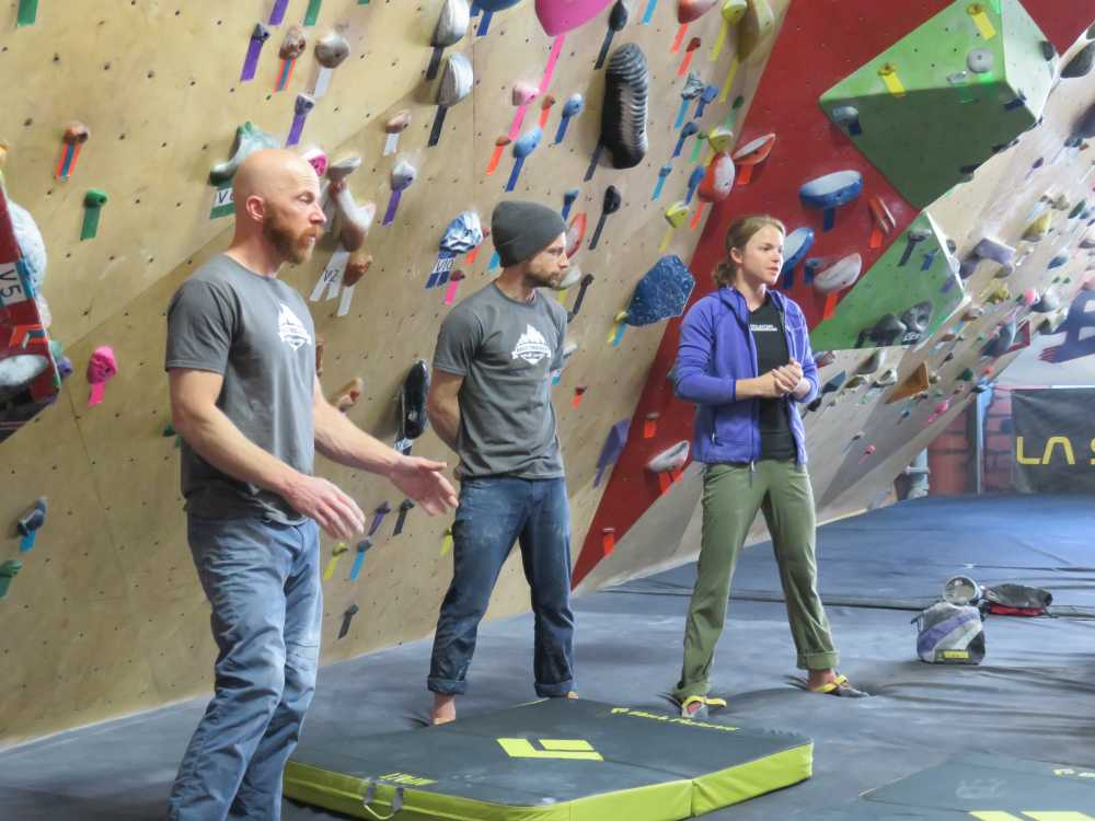 Chris Schulte, Luke Livsey and Angie Payne giving a bouldering clinic at Brooklyn Boulders for the ROCK Project, 2015.