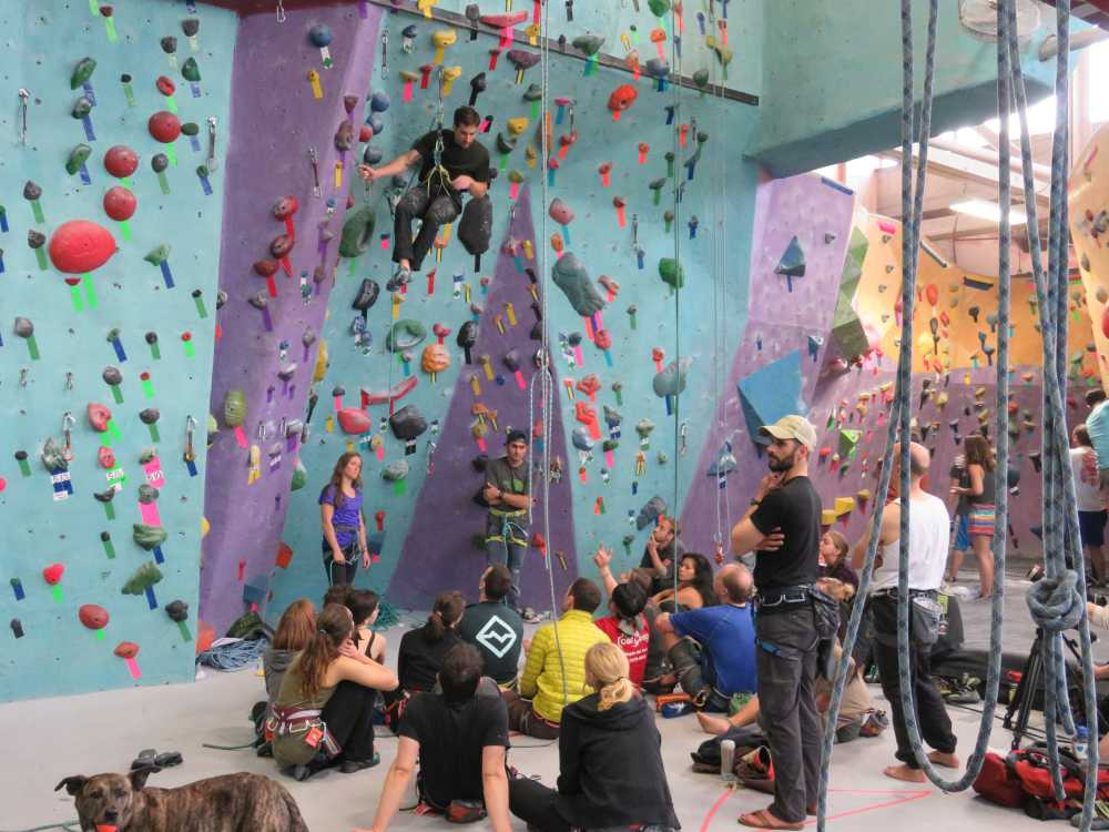 Whitney Boland, Joe Kinder and Sam Elias giving the sport climbing clinic at Brooklyn Boulders for the ROCK Project Tour, 2015.