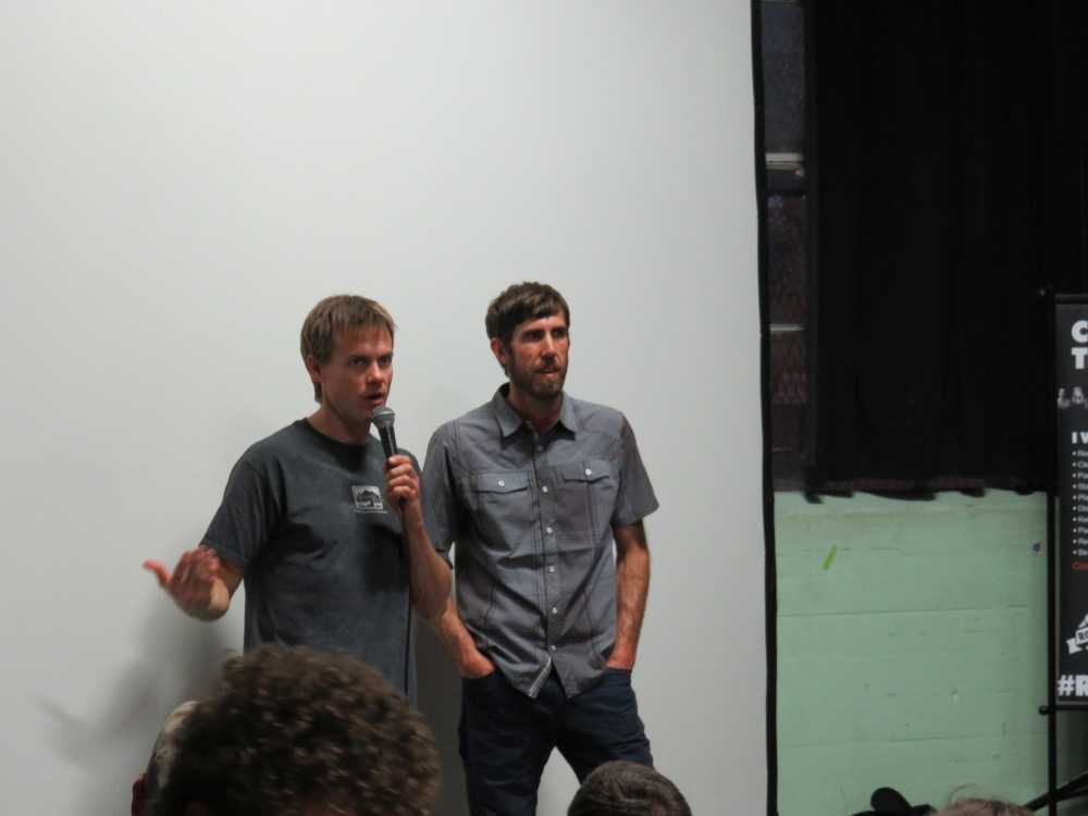Brady Robinson and Travis Herbert of the Access Fund at the ROCK Project Tour in Brooklyn Boulders, May 3, 2015.
