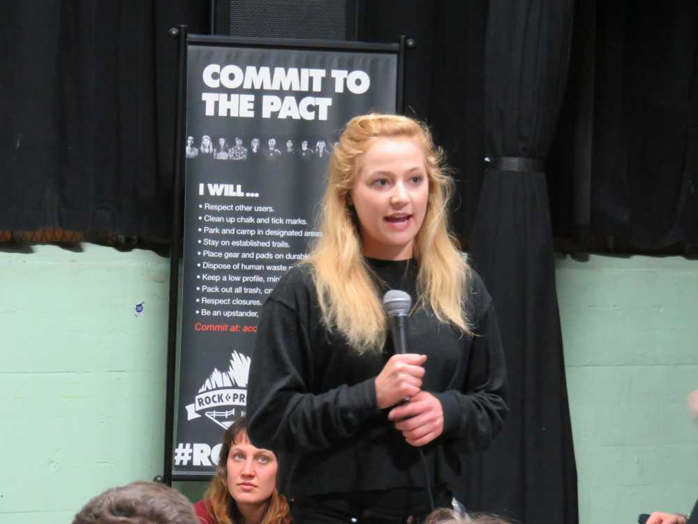 Sasha DiGiulian presenting at the ROCK Project Tour 2015 in Brooklyn.