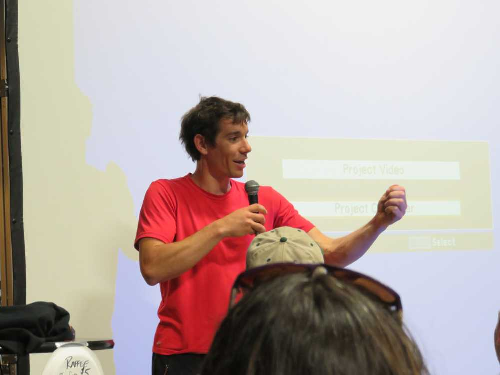 Alex Honnold presenting at the ROCK Project Tour 2015 in Brooklyn.
