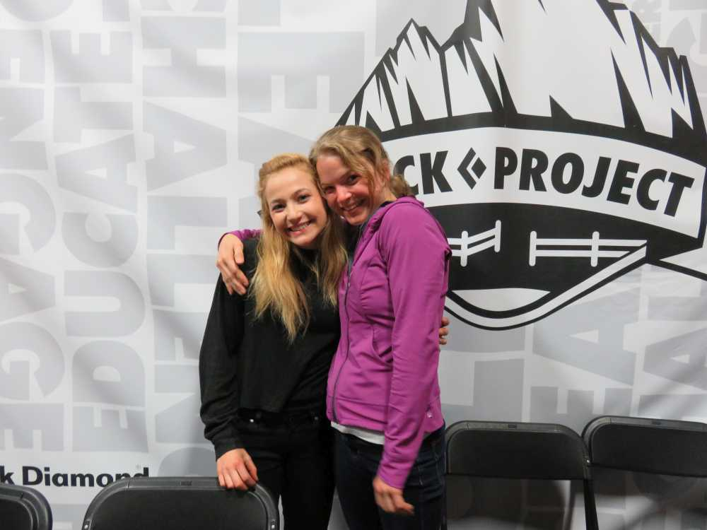 Sasha DiGiulian and Angie Payne at the ROCK Project Tour 2015 in Brooklyn.