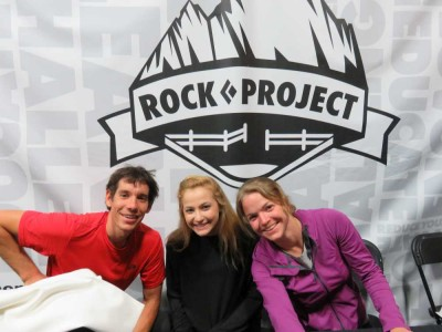 Alex Honnold, Sasha DiGiulian and Angie Payne at the 2015 ROCK Project Tour in Brooklyn.
