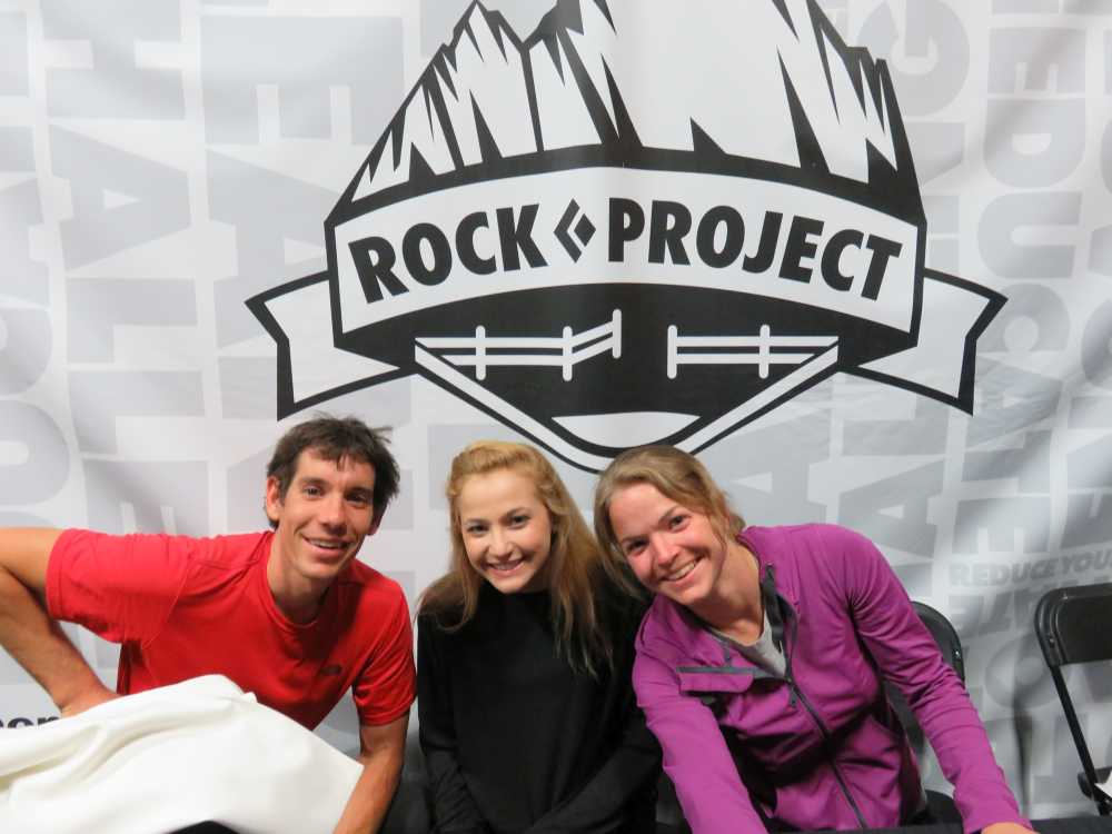 Alex Honnold, Sasha DiGiulian and Angie Payne at the ROCK Project Tour, 2015.