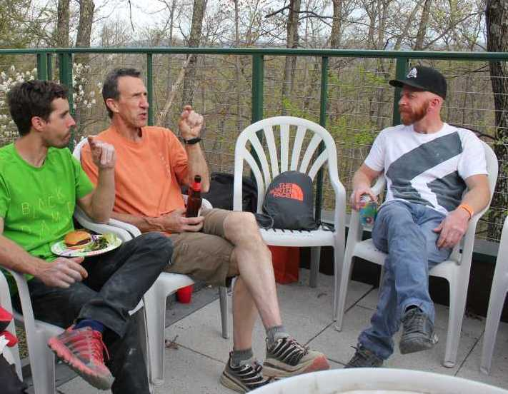 Climbers Joe Kinder, Russ Clune and Chris Schulte at the 2015 GCC Spring BBQ at the Mohonk Preserve Visitors Center.