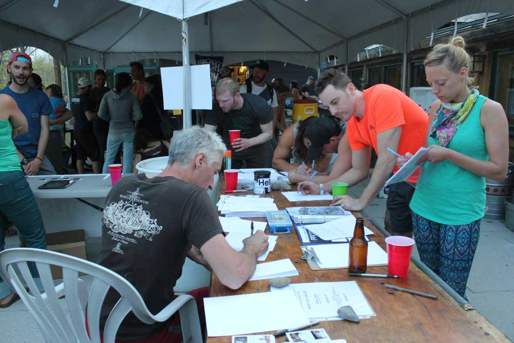 Writing letters to expand climbing opportunities in Minnewaska at the spring 2015 GCC BBQ.