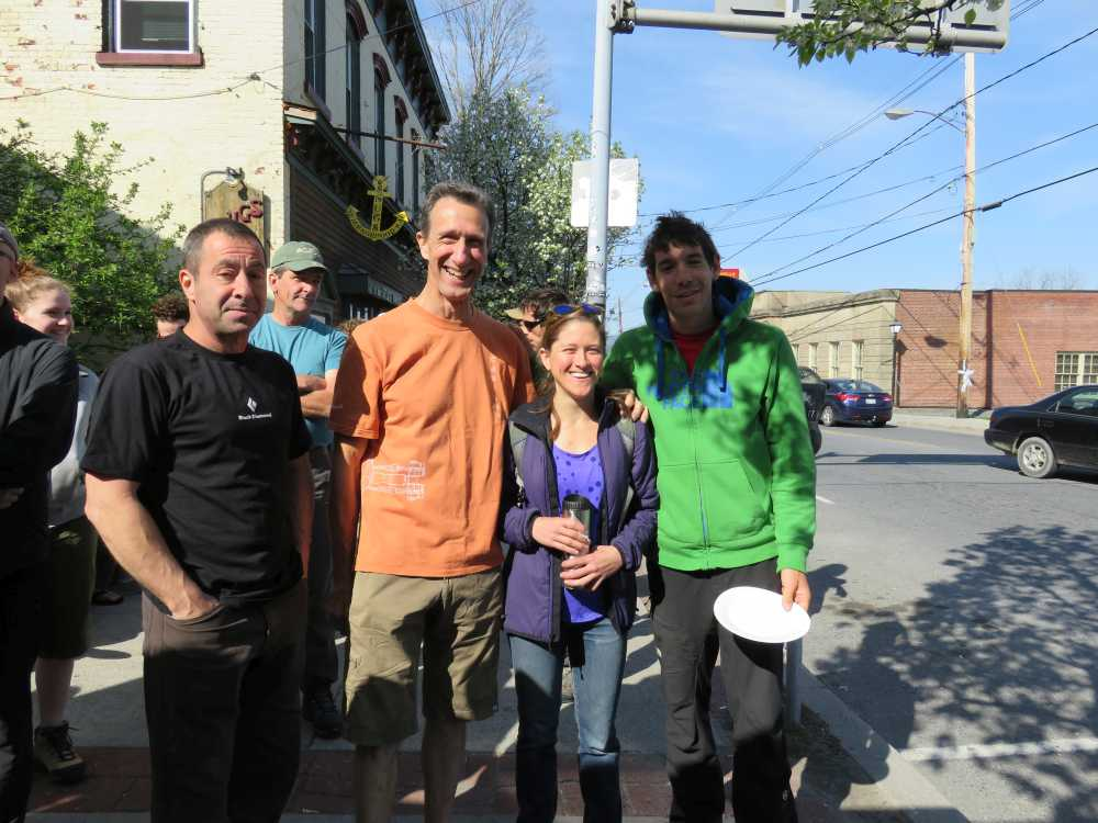 Al Diamond, Russ Clune, Whitney Boland and Alex Honnold at the ROCK Project breakfast hosted by Rock and Snow.