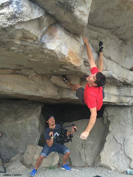 Alex Honnold bouldering at the Gunks after the ROCK Project land stewardship project. May 2015. (Photo by Jesse Carano)