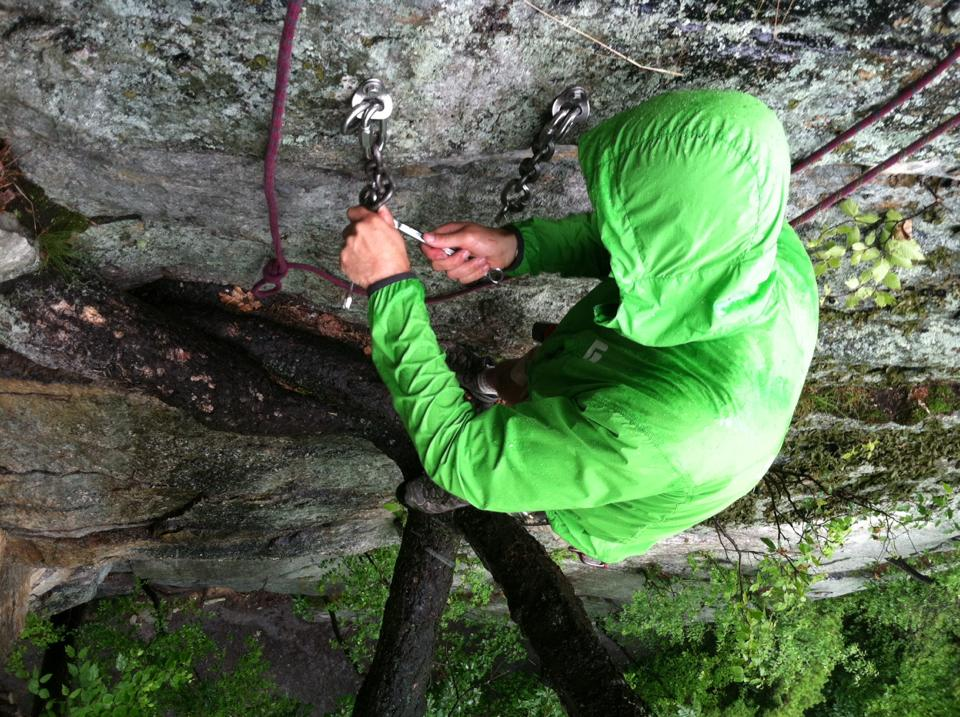 Setting up the new bolt anchor on the climb Double Chin at the Gunks.