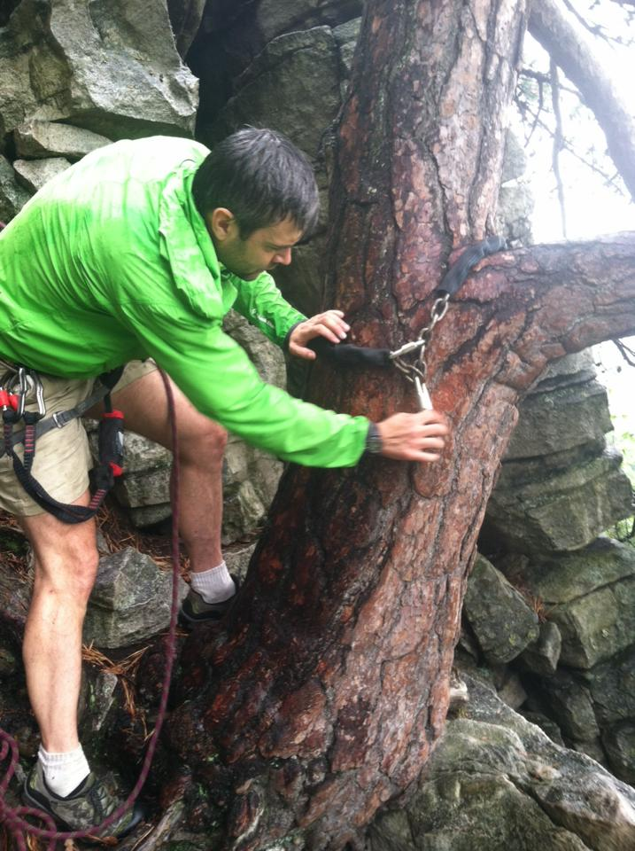 Christian Fracchia setting up a new chain anchor at the top of the climb Bunny at the Gunks.