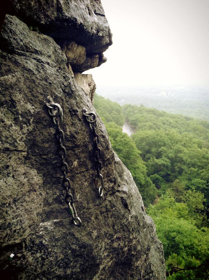 "New bolt anchor on top of the climb ""No Picnic"" at the Gunks."