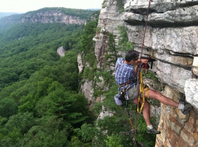 Christian Fracchia drilling a replacement bolt for the climb The Blackout at the Gunks.