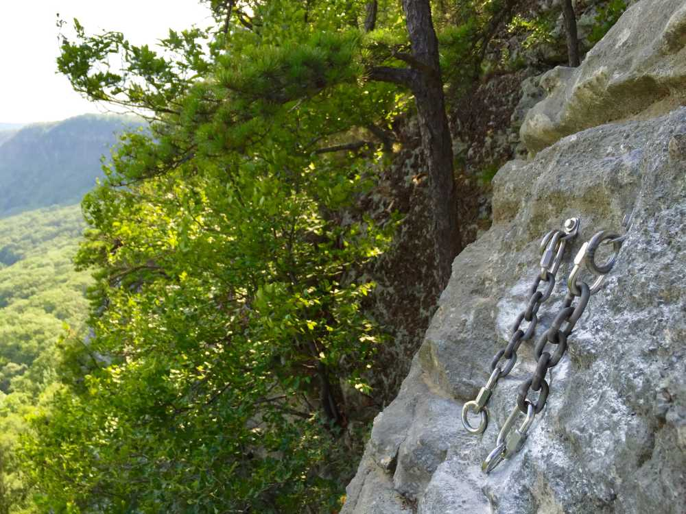 """New bolted anchor on the top of the Gunks climb, """"Betty""""."""