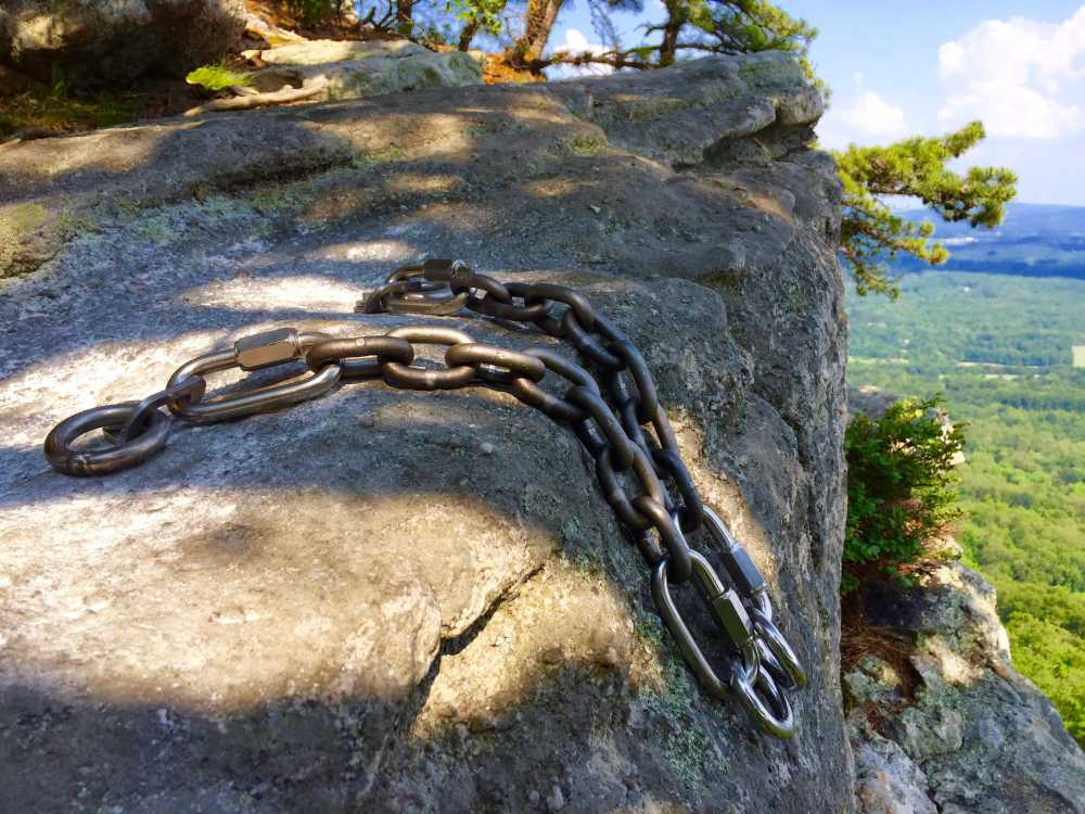 """New bolted rap anchor at the top of the 2nd pitch of the Gunks climb """"Jackie""""."""