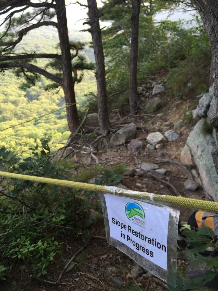 Slope Restoration closure at the top of the Gunks climb Baby.