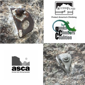 Composition of images showing the old bolt and the newly replaced bolt on the climb Wonderland at the Gunks, along with the Access Fund, Gunks Climbers' Coalition and ASCA logos.