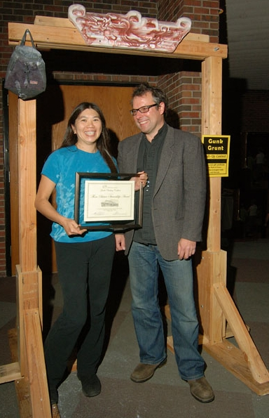 Jannette Pazer and Chris Moratz of the Gunks Climbers Coalition with the 2008 Thom Scheuer Award for Land Stewardship.