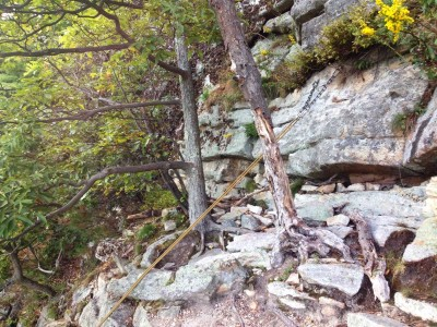 New bolted rappel anchor on the rock climb Beginner's Delight at the Gunks.