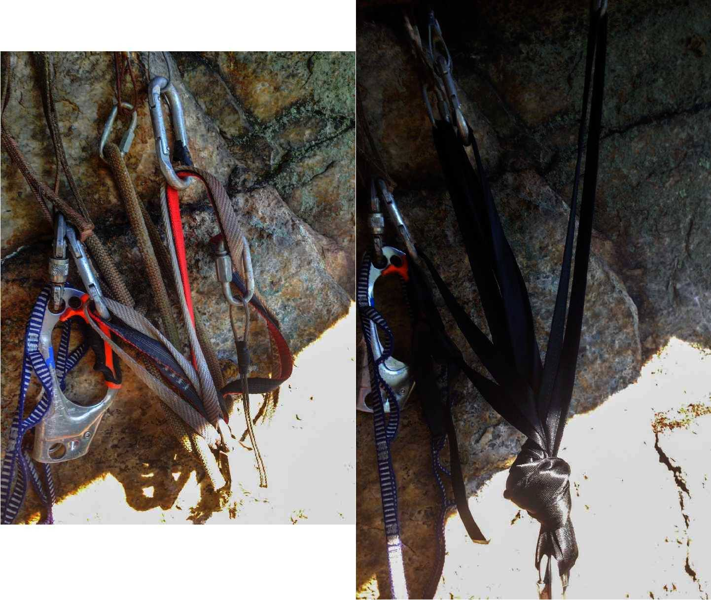 "Before and after photo of the anchor on the climb ""Outer Space Direct"" in the Near Trapps, Gunks."