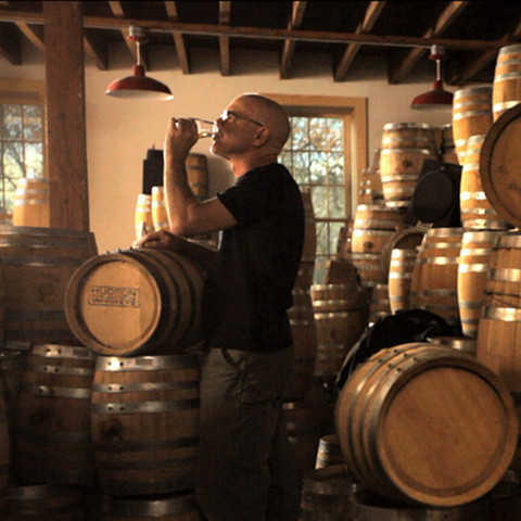 Ralph Erenzo sampling his bourbon at Tuthilltown Spirits.