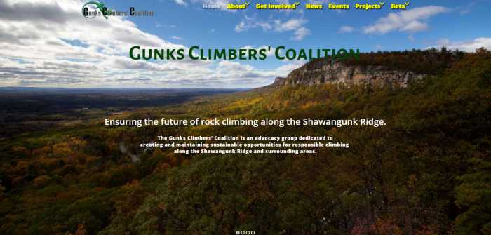 Home page of the new Gunks Climbers' Coalition website.