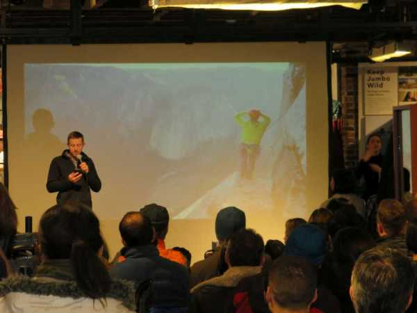 Tommy Caldwell speaking at the Patagonia Meatpacking District store in NYC.