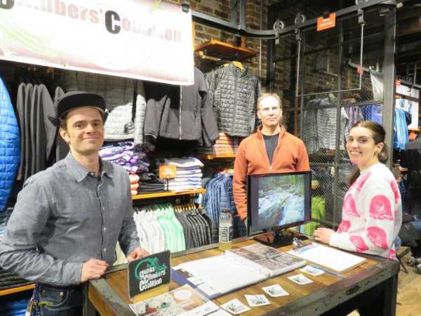 GCC table at the Tommy Caldwell event at the Patagonia Meatpacking District store in NYC.
