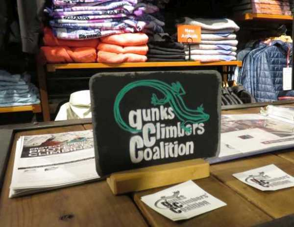 GCC Sign made by Patagonia store staff at NYC event.