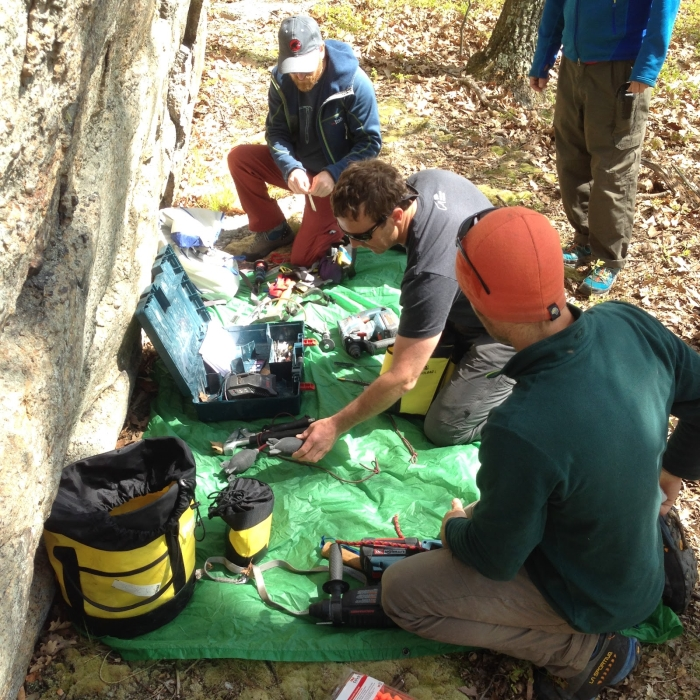 Organizing before climbing fixed anchor bolting practice begins. Photo: Gunks Climbers' Coalition