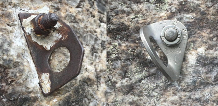Left: Bolt of unknown origin on the climb Wonderland. Right: The replaced bolt on Wonderland. Photo: Gunks Climbers' Coalition
