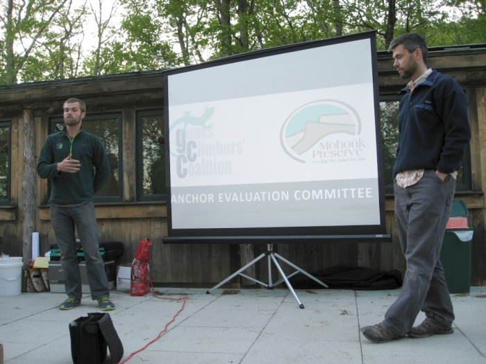 Presentation by the GCC Anchor Evaluation Committee (AEC) at the GCC 2014 Spring BBQ. Photo credit: Gunks Climbers' Coalition.