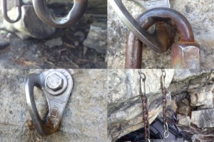 Worn bolted rap anchors found in the Gunks. Photo credit: Gunks Climbers' Coalition.