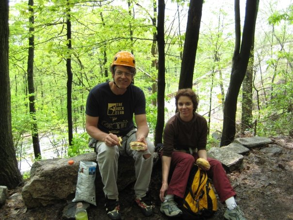 Melissa Raue on the carriage road relaxing after a few good pitches at the Gunks.