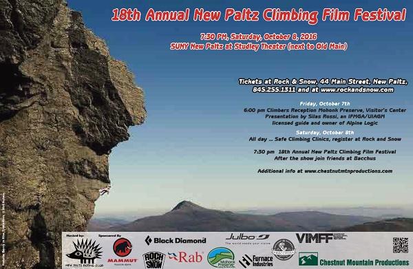 New Paltz climbing film festival 2016 poster.