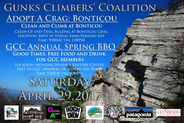 2017 Gunks Climbers' Coalition Adopt-a-Crag poster of Bontiou Crag, Mohonk Preserve.