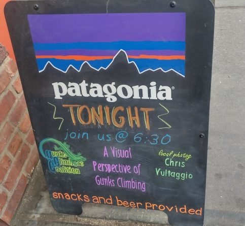 Sign outside for the GCC & Chris Vultaggio presentation at the GCC event at Patagonia Meatpacking store in NYC on 4/20/2017.